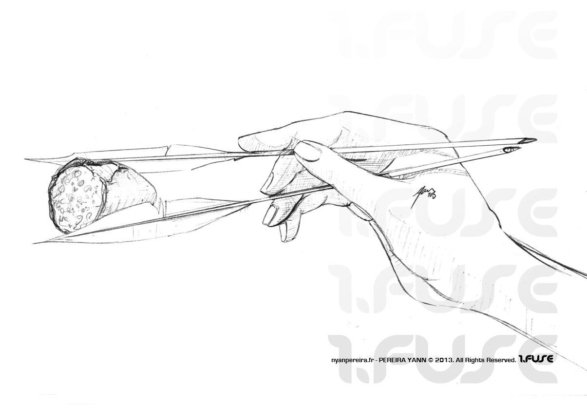 Sushi.manger.bagettes chinoise.dessin.roughan.dessinateur.7.2013