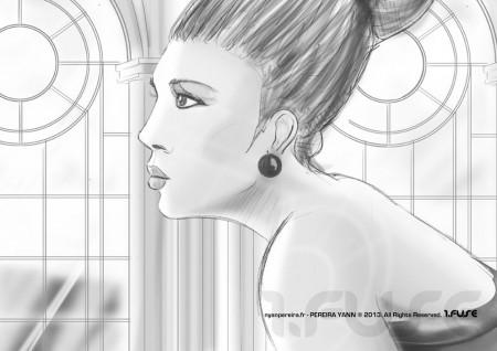 Yann PEREIRA Roughman / dessin Visage femme profile