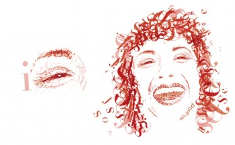Typographie.visage.vectoriel.femme