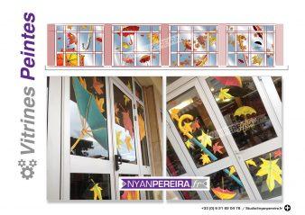 automne-decoration-vitrine-peinture-artiste-parapluie-vent-artiste-france