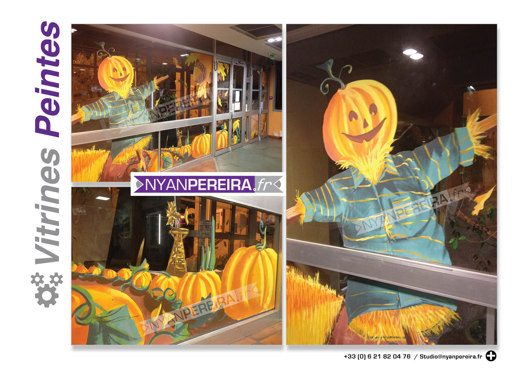 Decoration vitrine halloween for Decoration citrouille peinture