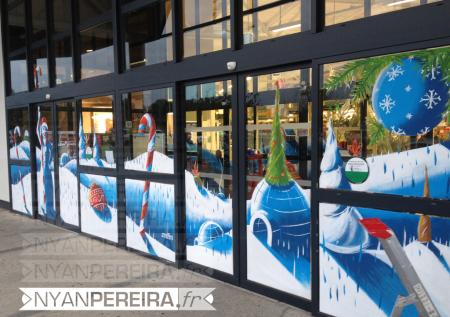 vitrinepeinte-centre-commercial-decoration-noel-paysage