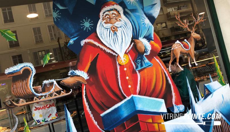 Vitrine original pour Noël peinture sur vitre