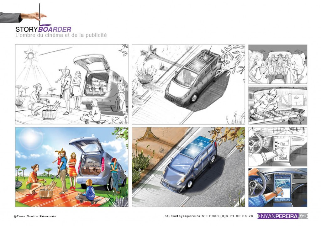 voiture electrique planche storyboard roughman freelance