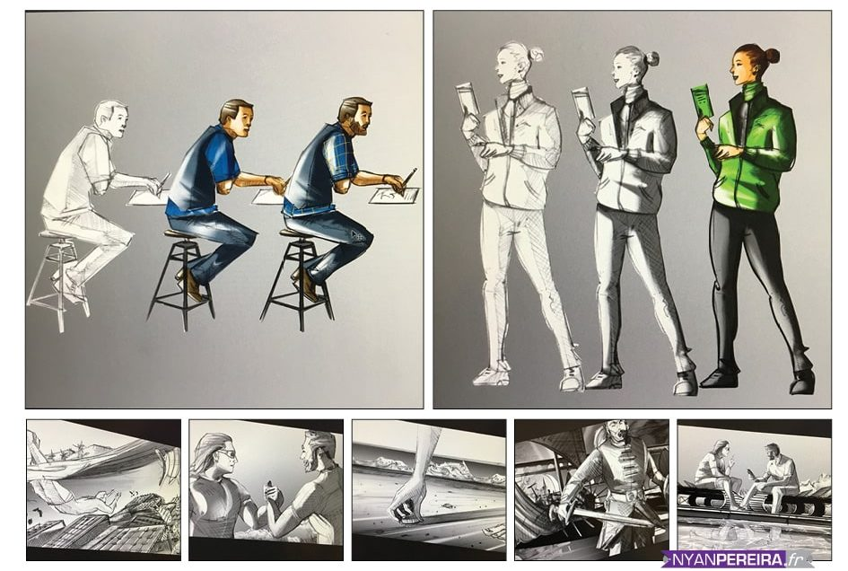 planche storyboard tournages film publicitaire