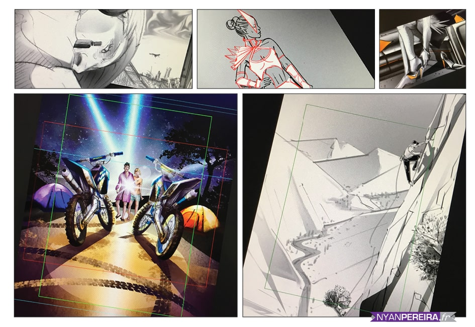 planche storyboard croquis, cadrage, tournages film publicitaire