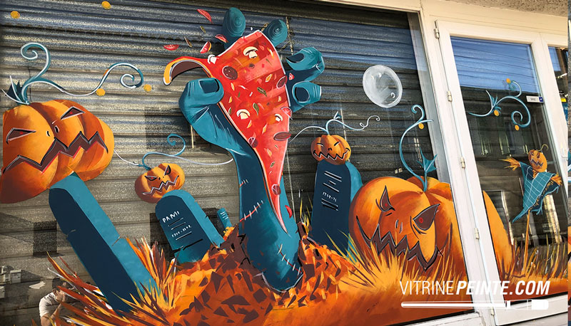 pizzèria décoration vitrine peinture halloween