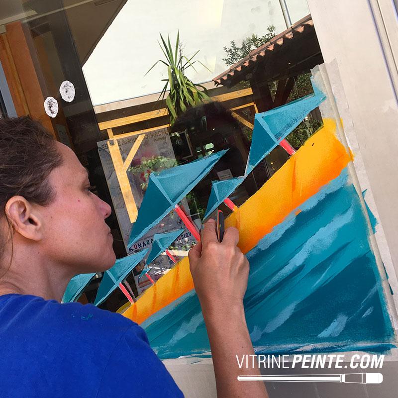 peinture vitrine décoration été originale intermarché