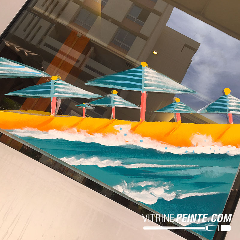 peinture vitrine décoration été centre commercial
