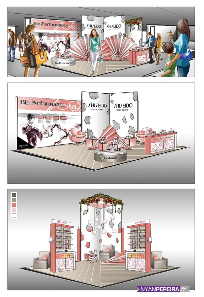 Roughs Évènementiels SHISHEDO magasin éphémère galerie la fayette