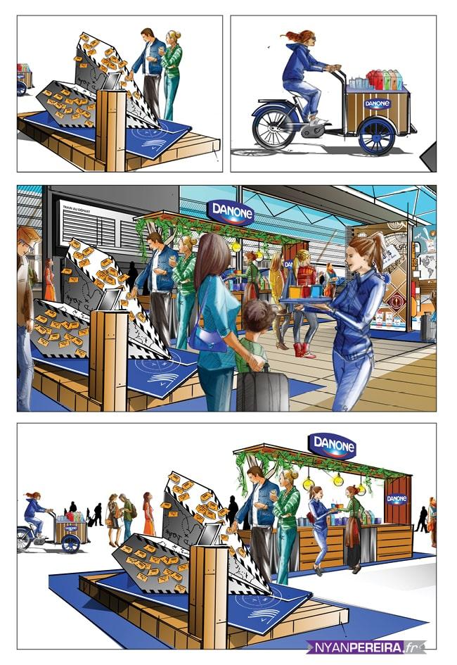 DANONE - Roughs Évènementiels Pop-Up Store gare du nord