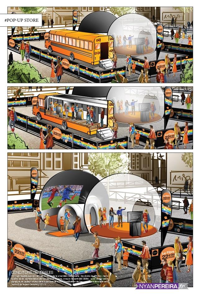 Orange telecome Roughs Évènementiels pop-up storeParis