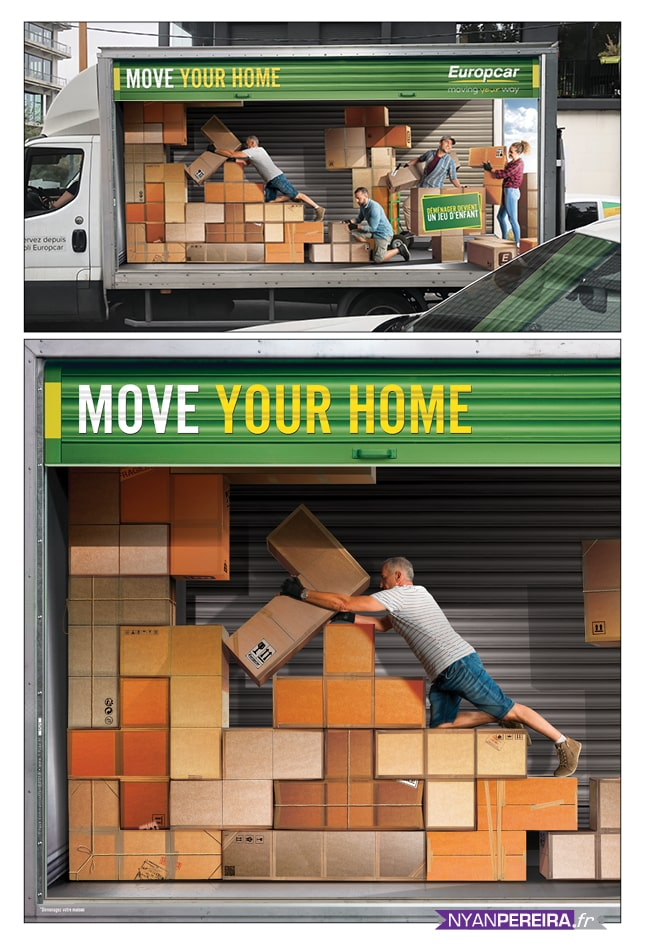 EUROPCAR photo manipulation campagne covering europcar Tetris game photographe studio freelance paris