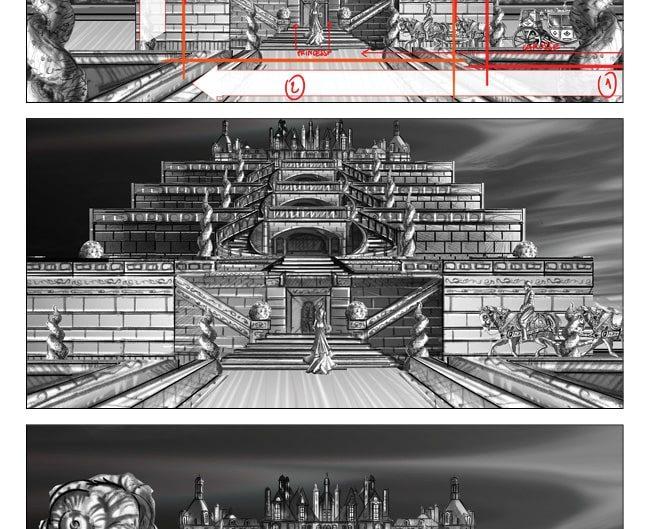 Storybord chateau princesse dessin film