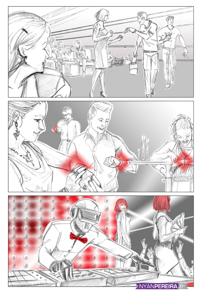 Storyboard publicitaire - Cinéma Night Club