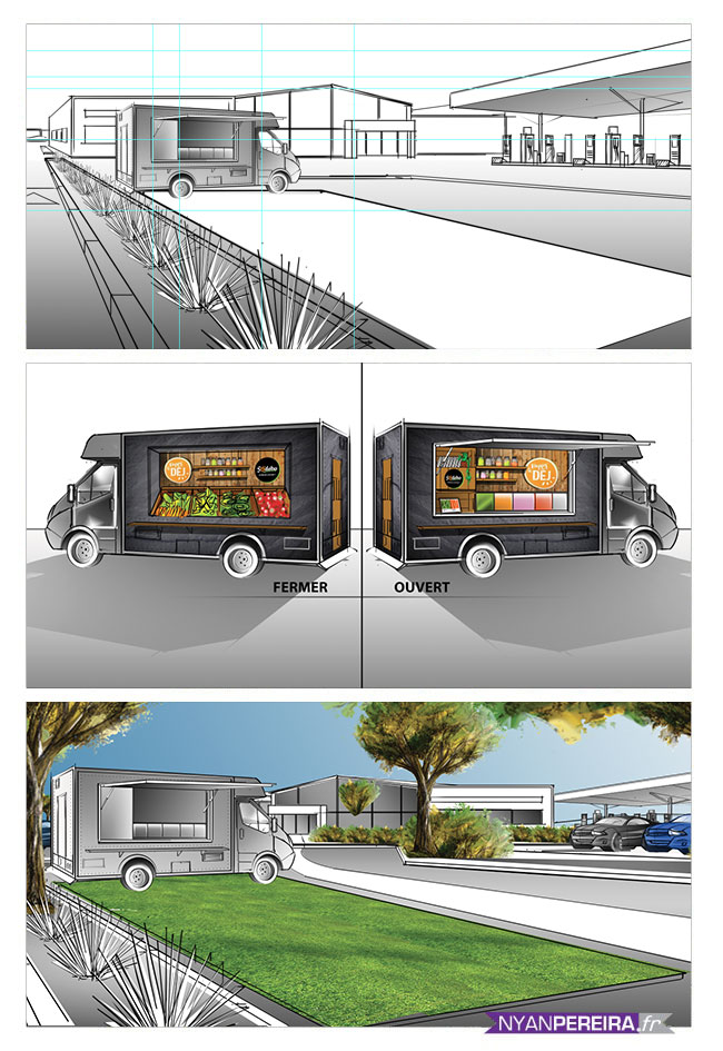 scenographe.freelance.thetralisation.conception.creation.Food-truck.resentation.dessin.scenographie.in.out-store