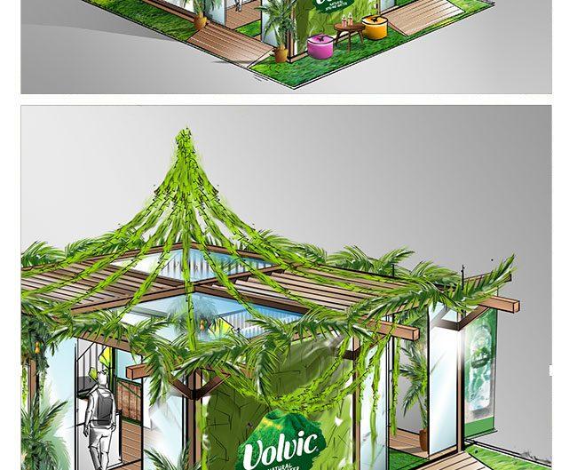 VOLVIC.bulle.vegetale.conception.dessin.roughman.scenographe.freelance.thetralisation.ou-store.concept.store.creation.pop.up.shop.shopper